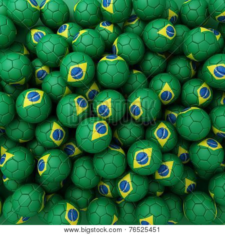 Brasilian Football Balls (many). 3D Render Background