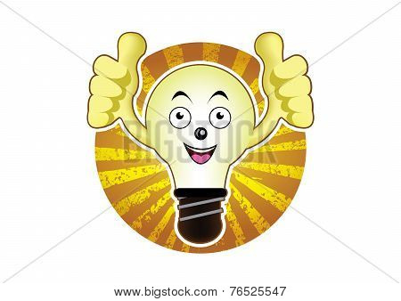 Cartoon light bulb with a bright idea