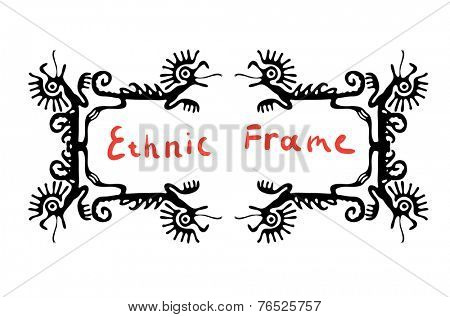 Black frame element with dragons or lizards, vector illustration