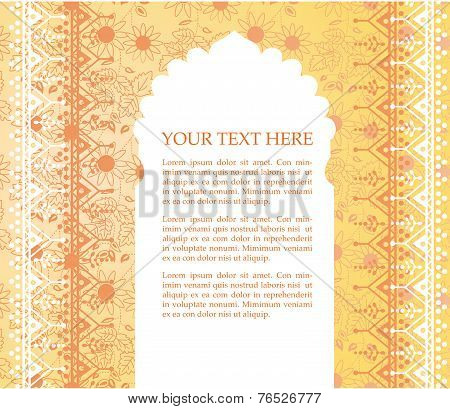 Yellow floral oriental temple background