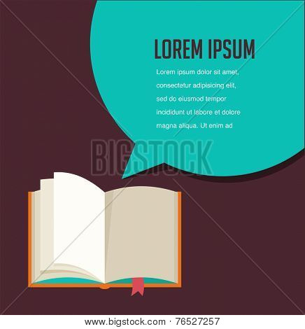 Open book background with speech bubble