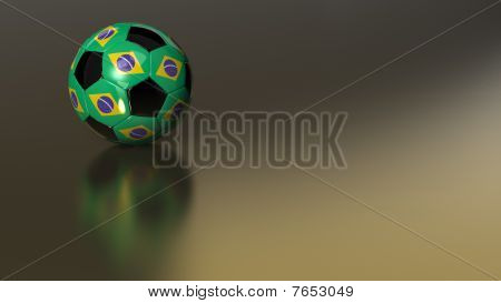 Glossy Brazil Soccer Ball On Golden Metal