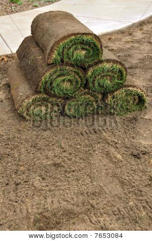 Stack Of Sod Rolls