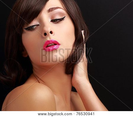 Beautiful Sexy Makeup Woman With Pink Lipstick And Black Eyeliner
