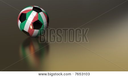 Glossy Italy Soccer Ball On Golden Metal