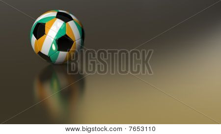 Glossy Ivory Coast Soccer Ball On Golden Metal