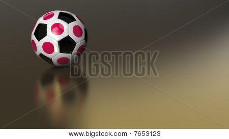 Glossy Japan Soccer Ball On Golden Metal
