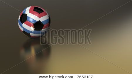 Glossy Netherlands Soccer Ball On Golden Metal
