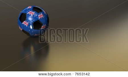 Glossy New Zealand Soccer Ball On Golden Metal