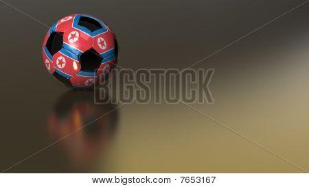 Glossy North Korea Soccer Ball On Golden Metal