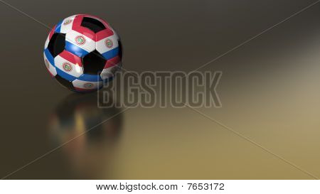 Glossy Paraguay Soccer Ball On Golden Metal