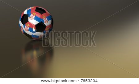 Glossy Serbia Soccer Ball On Golden Metal