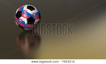 Glossy Slovakia Soccer Ball On Golden Metal