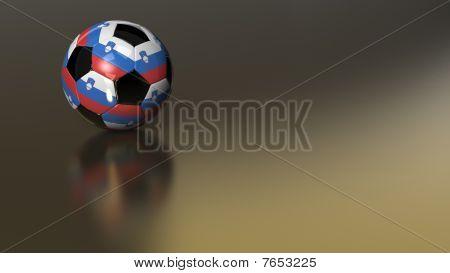 Glossy Slovenia Soccer Ball On Golden Metal