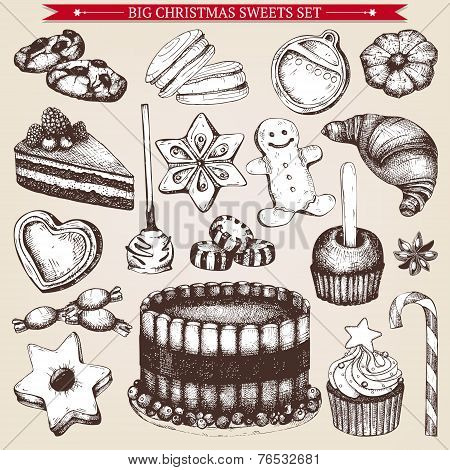 Vintage Christmas bakery illustration.