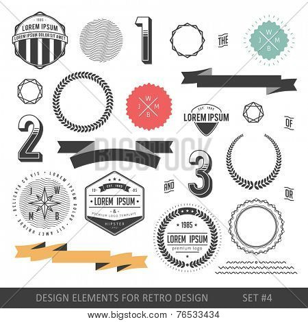 Hipster style infographics elements set for retro design. With ribbons, labels, numbers, borders and diamonds. Vector illustration