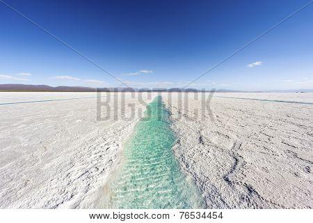 Water Pool On Salinas Grandes Jujuy, Argentina.