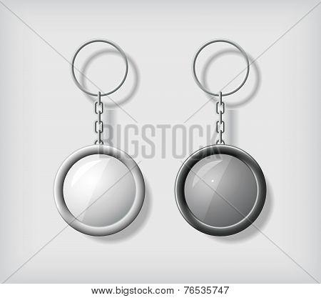 Two key chain pendants mockup