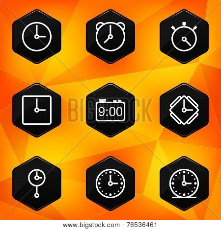 Clock and Time. Hexagonal icons set on abstract orange background