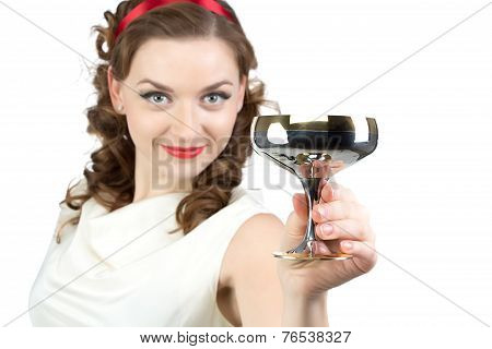 Portrait of woman with metal snifter