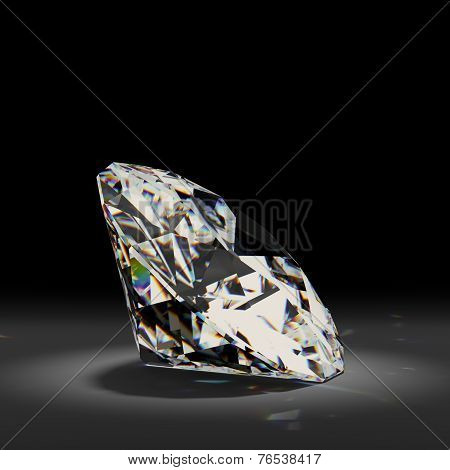 Shiny white diamond on black background.