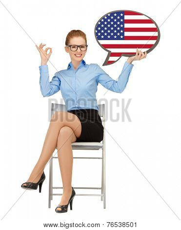 education, foreign language, english, people and communication concept - smiling woman holding text bubble of american flag and showing ok gesture