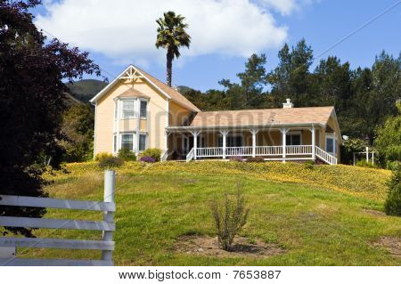 Rural California Home Surrounded By Flowers