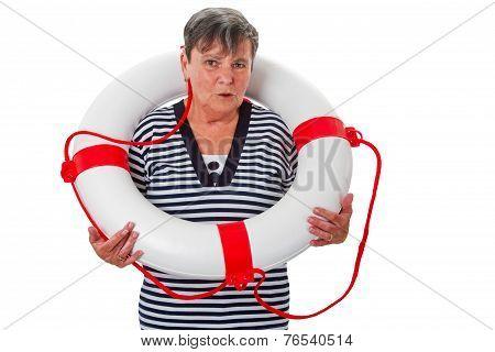 Senior Woman With Lifesaver