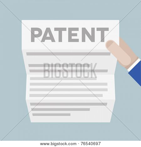 detailed illustration of a hand holding a sheet of paper with Patent headline, eps10 vector