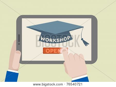 minimalistic illustration of a tablet computer with workshop scholar hat and hand pushing the join button, eps10 vector