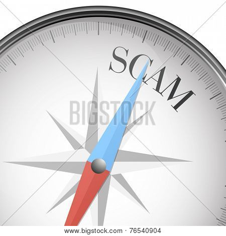 detailed illustration of a compass with scam text, eps10 vector