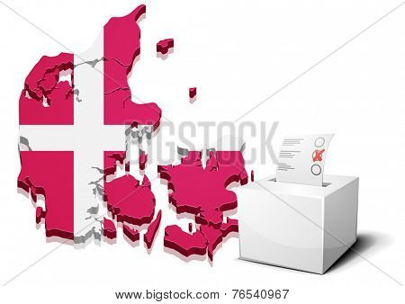 detailed illustration of a ballot box in front of a 3D map of Denmark, eps10 vector