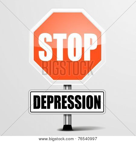 detailed illustration of a red stop Depression sign, eps10 vector