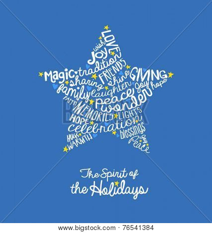 Handwritten Christmas star card Word Cloud design