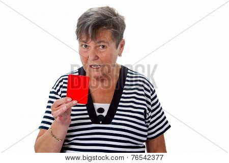 Senior Woman Showing Red Card