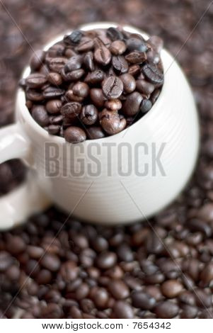 Coffee beans in a cup