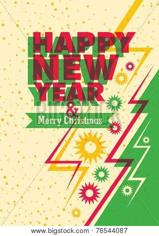 Modish New Year and Christmas poster. Vector illustration.
