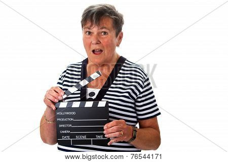 Senior Woman With Clapperboard