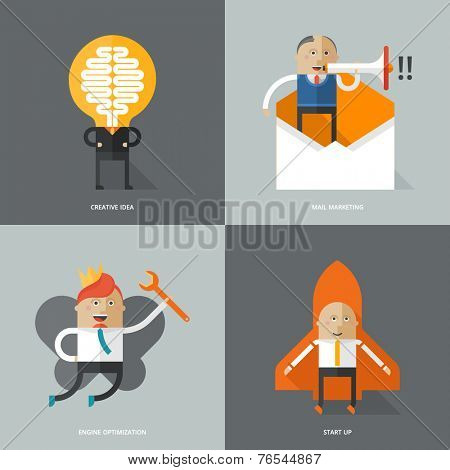 Set of flat design concept icons for business, mail marketing, startup, service