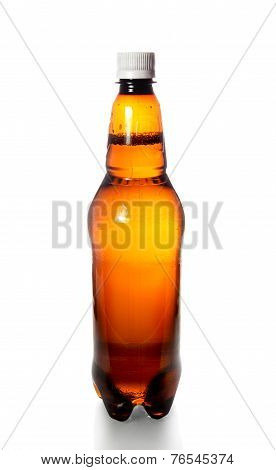 Plastic Bottle With Beer Isolated On White Background