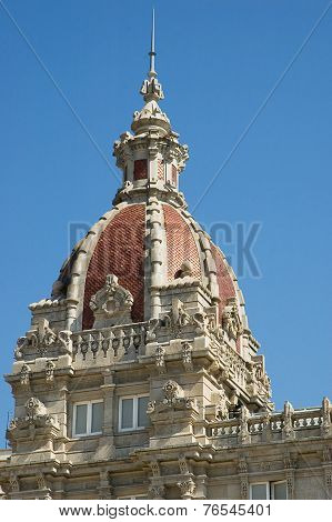 Detail Of The Town Hall Of La Coruna