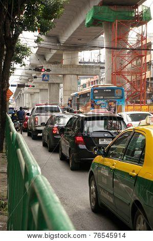 Traffic Jam Below Construction Blue Line Of Bangkok Sky Train