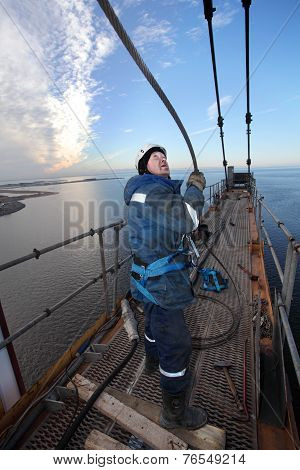 High-altitude Installation Work Installer Is Working At Height, Erection Crane.