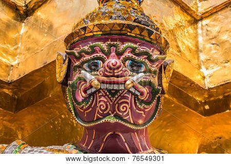 Purple Giant Guardian In Wat Phra Kaew Temple ,bangkok,thailand