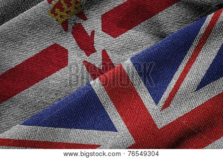 Flags Of Uk And Northern Ireland On Grunge Texture