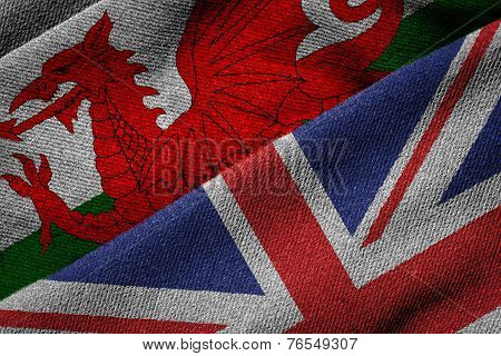 Flags Of Uk And Wales On Grunge Texture