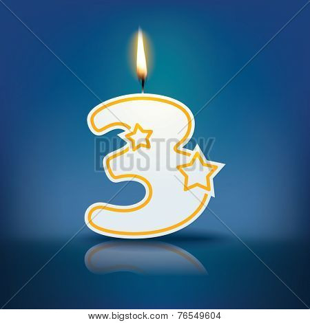 Candle number 3 with flame - eps 10 vector illustration