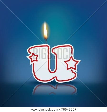 Candle letter u with flame - eps 10 vector illustration