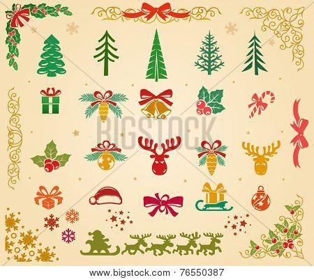 Christmas decorative elements set