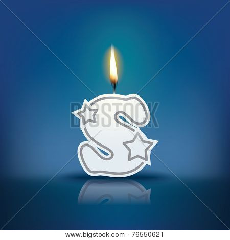 Candle letter s with flame - eps 10 vector illustration
